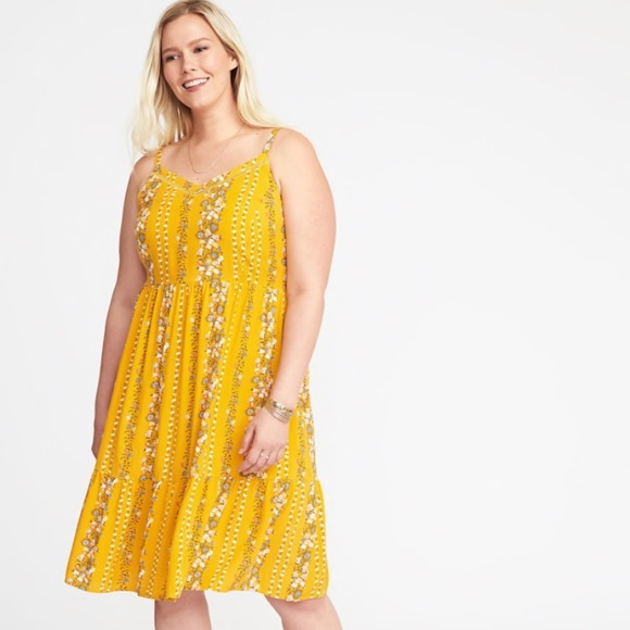 Old navy fit to flare cami dress yellow floral 2x 3x NWT 100/% rayon spaghetti
